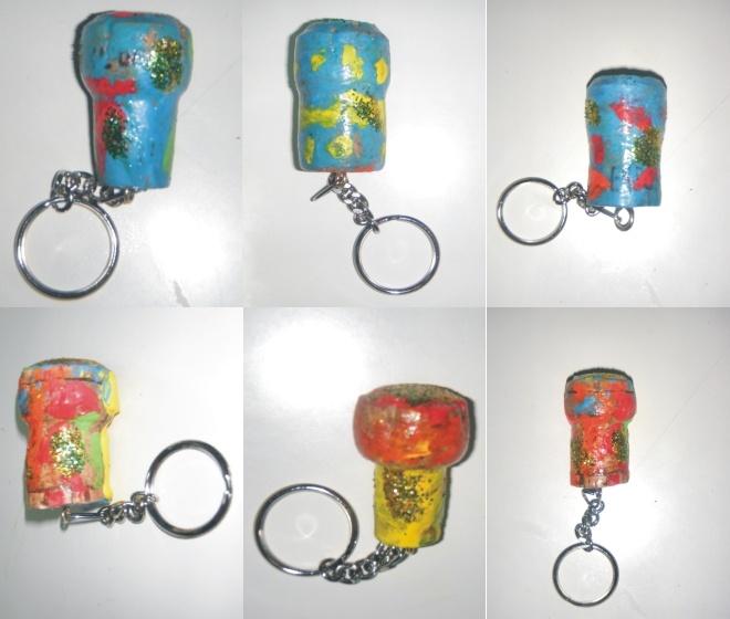 porta-chaves com rolhas de cortiça
