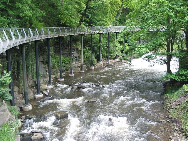 The Millennium Walkway above the river Goyt near New Mills, Derbyshire, England.