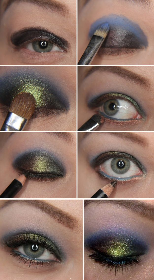 Iridescent Peacock Eyes | 22 Beauty Tutorials For Dramatic Holiday聽Looks