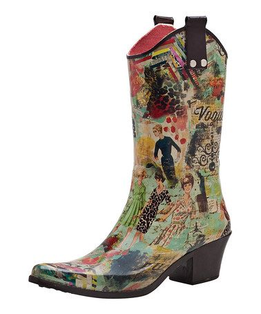 This Yellow & Teal Fashionista Cowboy Rain Boot is perfect! #zulilyfinds