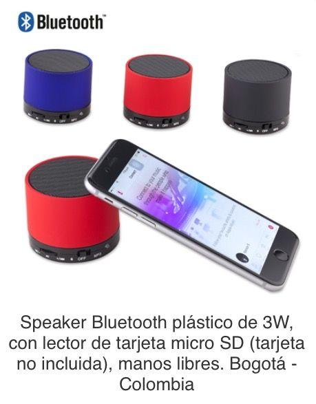 Speaker Bluetooth plástico de 3W, con lector de tarjeta micro SD (tarjeta no incluida), manos libres. Tipo de Producto: IMPORTADO. Medidas: 5 cm x 5.7 cm diámetro. Área de Marca: 2.5 cm  Técnica de Marca: Tampografía Colores Disponibles: Azul, Negro y Rojo.