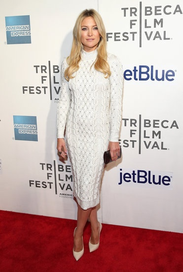 Kate Hudson stunned in a white Jenny Packham dress for the Tribeca Film Festival premiere of The Reluctant Fundamentalist.
