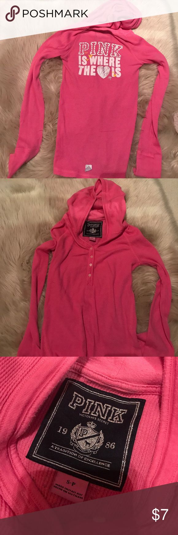VS PINK Waffle fabric Henley with hood PINK Victoria's Secret waffle fabric Henley with design on the back. Rhinestone accent, barely worn. PINK Intimates & Sleepwear Pajamas