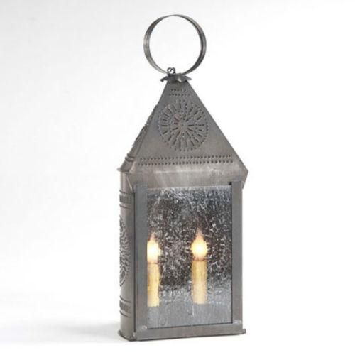 Punched Tin Lantern Large Dual Candle Colonial Chisel Pattern With Seedy Glass In Blackened Tin With Images Lanterns Primitive Lighting Punched Tin