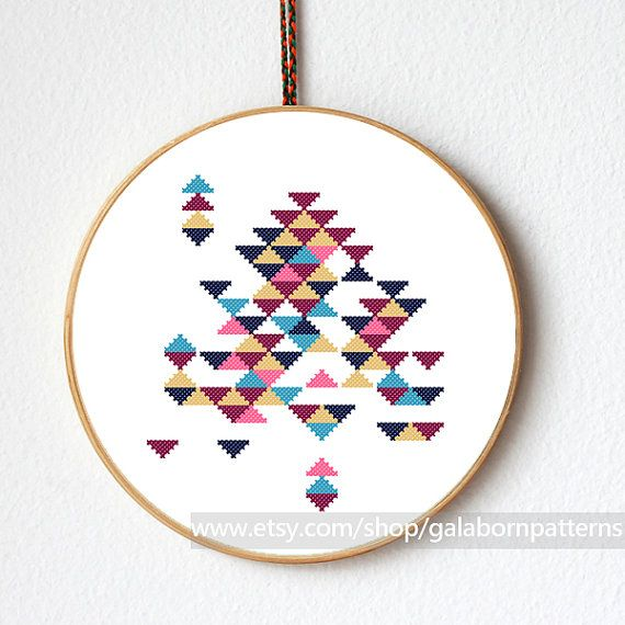 Tittle: Abstract triangles This PDF counted cross stitch pattern available for instant download. Skill level: Beginner. Floss: DMC Fabric: 14-count Hoop: 8 inches SIZE: Design Area: 76h x 67w stitches. Area of embroidered image 5.5 x 4,8 inches This PDF pattern include: • image of finished design • stitch diagram (in color) with DMC stranded cotton • material list • beginners instructions All geometric patterns here: http://www.etsy.com/shop/galabornpatterns?section...