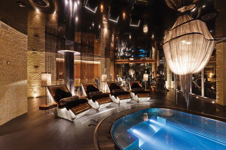 Chalet Zermatt Peak Spectacular Indoor Pool. Available from Firefly Collection. #zermatt #thealps #luxurychalet #indoorpool