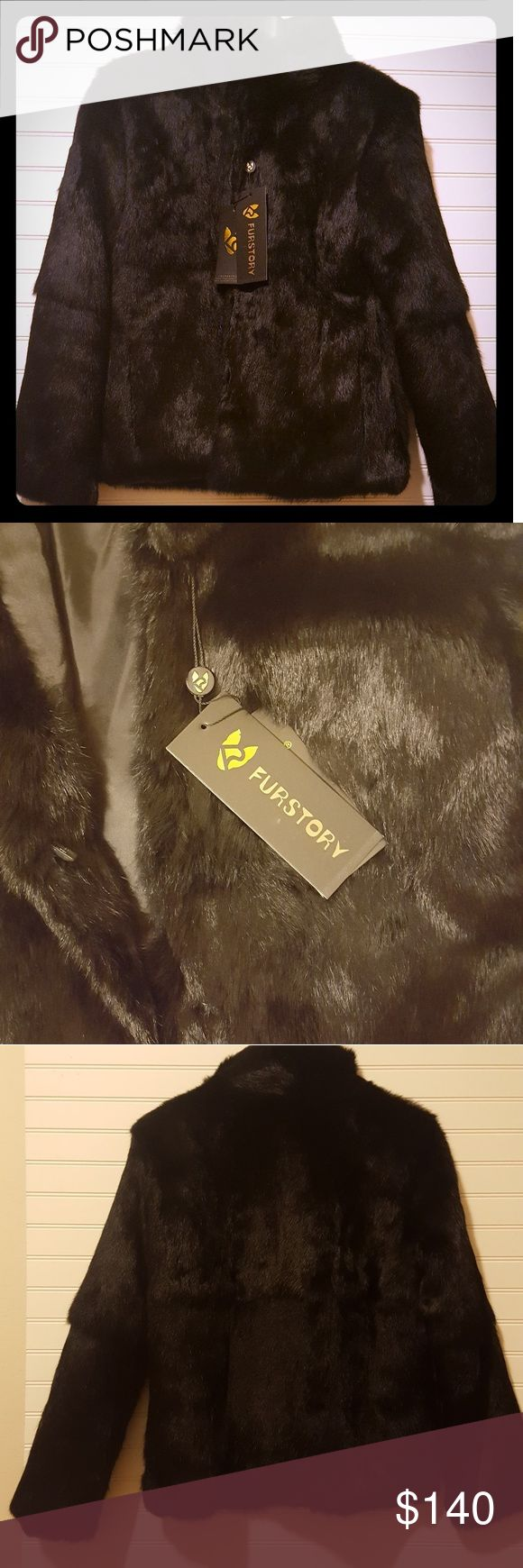 ❤NWT GENUINE RABBIT❤ Beautiful plush and warm GENUINE RABBIT FUR COAT 💕💕💕 Original tags on. Never worn, just to try on. Saddly a little too big on me. It's marked size 12, but Asian sizes run smaller. So the coat is more like American size 8-10. No shedding whatsoever. Clasp closures. Tall collar. Front pockets. Color black. Genuine rabbit, polyester lining  Armpit to armpit (flat) 20 inches  Collar(front) 3 inches Length(flat) from shoulder seam 23.5 inches  Sleeves(flat) from shoulder…