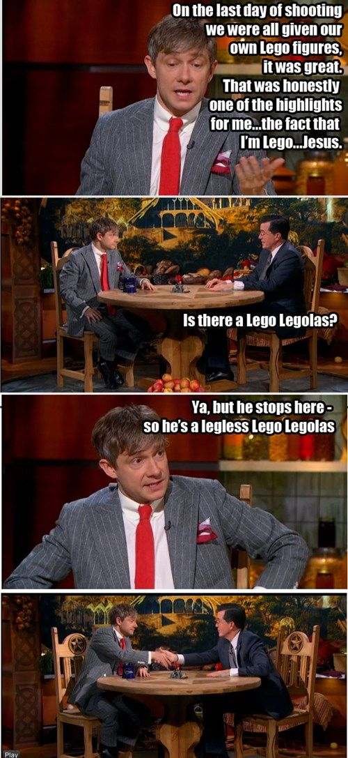I laughed so hard at this. Poor Colbert isn't used to being out-clevered. Enter Martin Freeman.