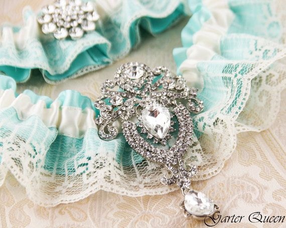 Bridal garter set, SOMETHING BLUE Wedding Garter set, Heirloom Rhinestone and Crystal garters on Etsy, $50.00