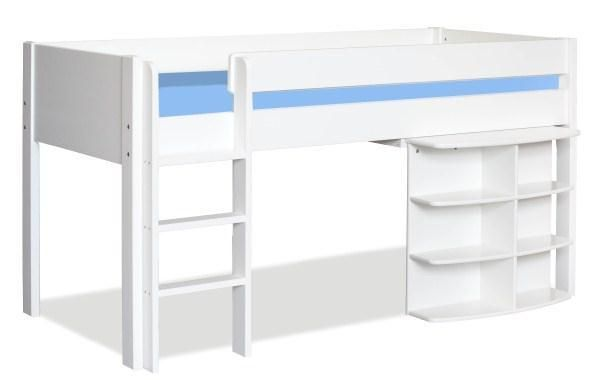 Uno 1 White Mid Sleeper Frame + Pullout Desk