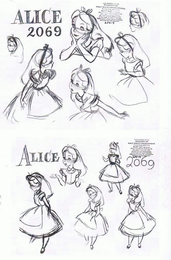 Alice model sheet ★ || Art of Walt Disney Animation Studios © - Website | (www.disneyanimation.com) • Please support the artists and studios featured here by buying their works from their official online store (www.disneystore.com) • Find more artists at www.facebook.com/CharacterDesignReferences and www.pinterest.com/characterdesigh || ★