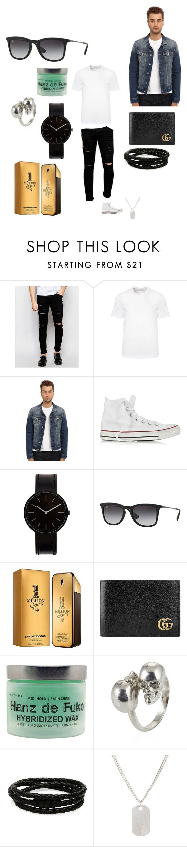 """💰style💰"" by sebastian97s ❤ liked on Polyvore featuring Cheap Monday, Versace, Mavi, Converse, Uniform Wares, Ray-Ban, Paco Rabanne, Gucci, Hanz De Fuko and Alexander McQueen"