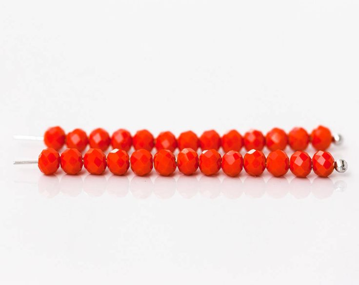 2609_ Red crystal 4x3 mm Jewelry glass beads Opaque glass
