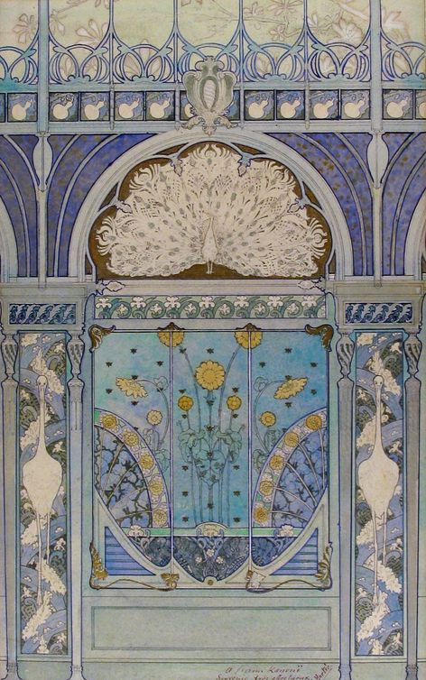 The colours on this as a tad pale, but you see how the ink colours and the milk colours go with the gold and the general detailedness of it?   Art nouveau. E. Hutre - Architectural design for a wall decoration with eglantines, peacock, cranes, and bees, c.1900, Pen and black, blue, and metallic ink, watercolor, over graphite, Metorpolitan Museum of Art, NYC.