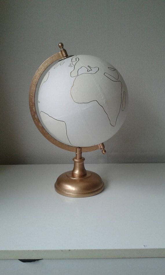 Hand Painted Globe Wedding guest book by WholeWorldOfLove on Etsy