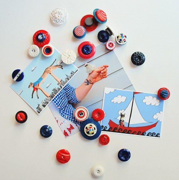 DIY: vintage button magnets