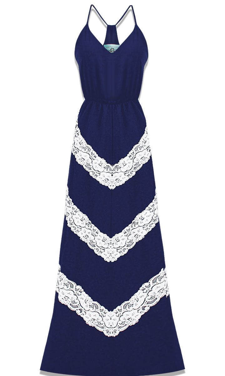 JUDITH MARCH - CHEVRON LACE MAXI DRESS - LUXE N.7