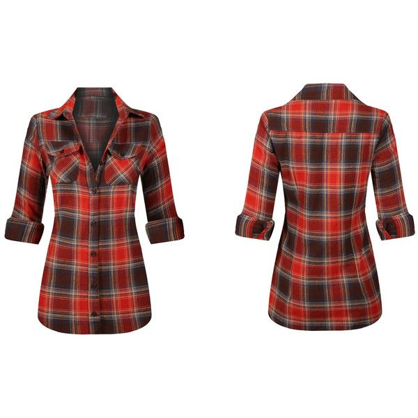Women's Ladies Long Sleeve Button Down Plaid Flannel Shirt Large... ($25) ❤ liked on Polyvore featuring tops, red, tops & tees, white long sleeve shirt, long sleeve shirts, red plaid shirt, plaid flannel shirt and red long sleeve shirt