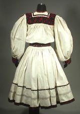Romanian Folk Costume embroidered linen skirt & blouse OAS ethnic peasant dress