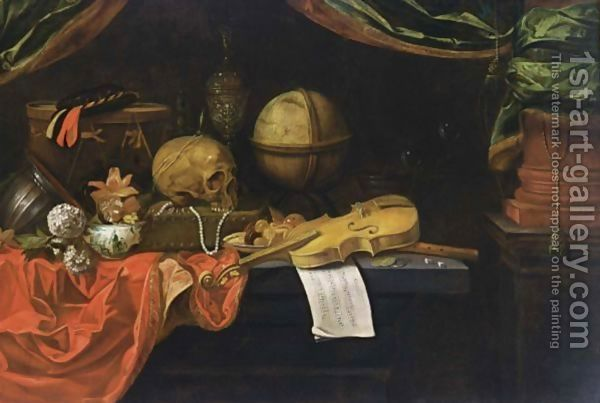 A Vanitas Still Life With Musical Instruments And Score, A Globe, A Skull, A Transitional Bowl With Flowers, Snowballs, Jewellery, A Silver-Gilt Cup And Cover, Bubbles, Money And Dice, All On A Table Draped With Red Cloth by Dutch School