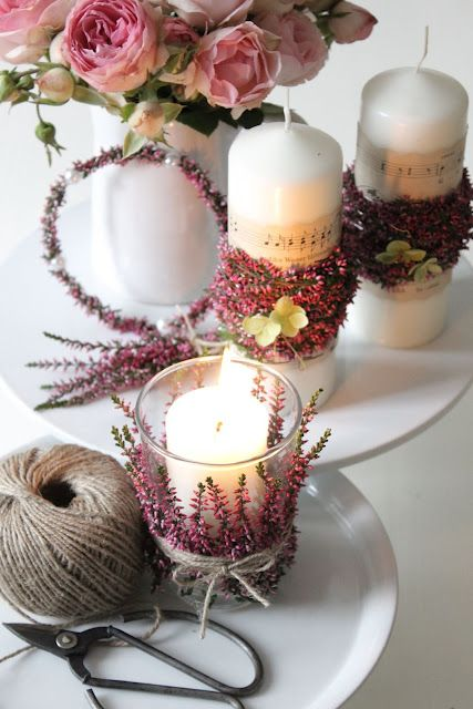 Home & Inspiration: Heather, candles & pearls (would also be neat with lavender or rosemary)