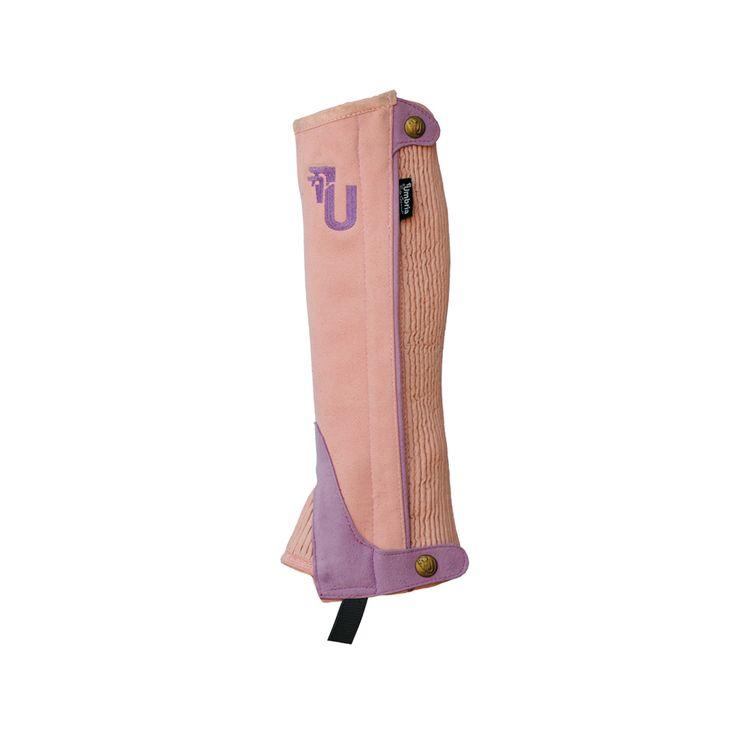 Ghette da equitazione per bambino bicolore in tessuto sintetico Amara con soffietto laterale elasticizzato per un maggiore confort e per una massima adattabilità, chiusura con cerniera.