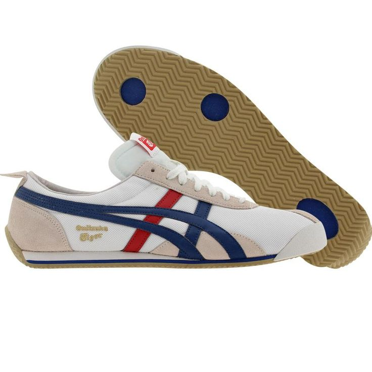 Asics Onitsuka Tiger Fencing shoes in white and blue.
