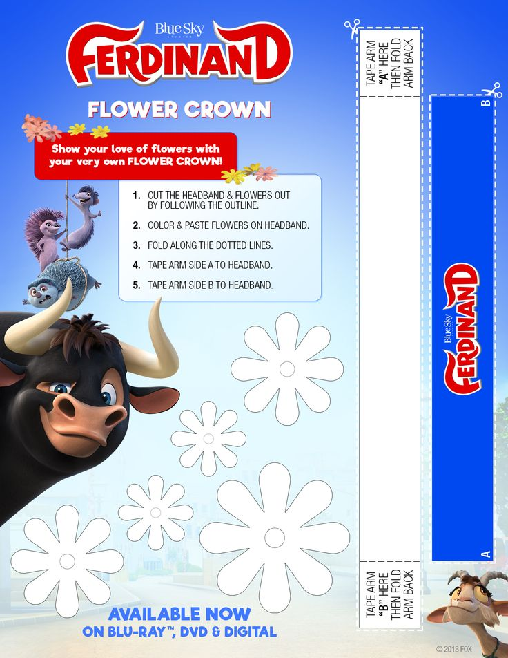 A printable FLOWER CROWN to celebrate the release of FERDINAND on Blu-ray & DVD! #activitypage #free #printable