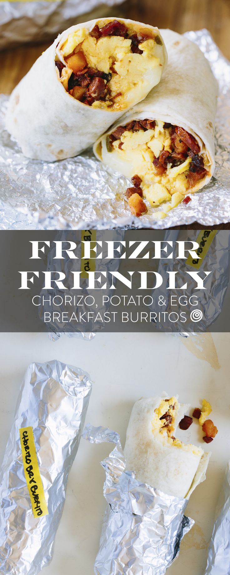 Frozen Make Ahead Breakfast Ideas: Crispy Potato and Chorizo Frozen Burritos. These EASY burritos come together QUICKLY and reheat in the oven or toaster oven so you can take them to work - or heat them in the oven while you get ready. With egg, potatoes, and chorizo, your whole family will love them. Such a crowd pleaser!