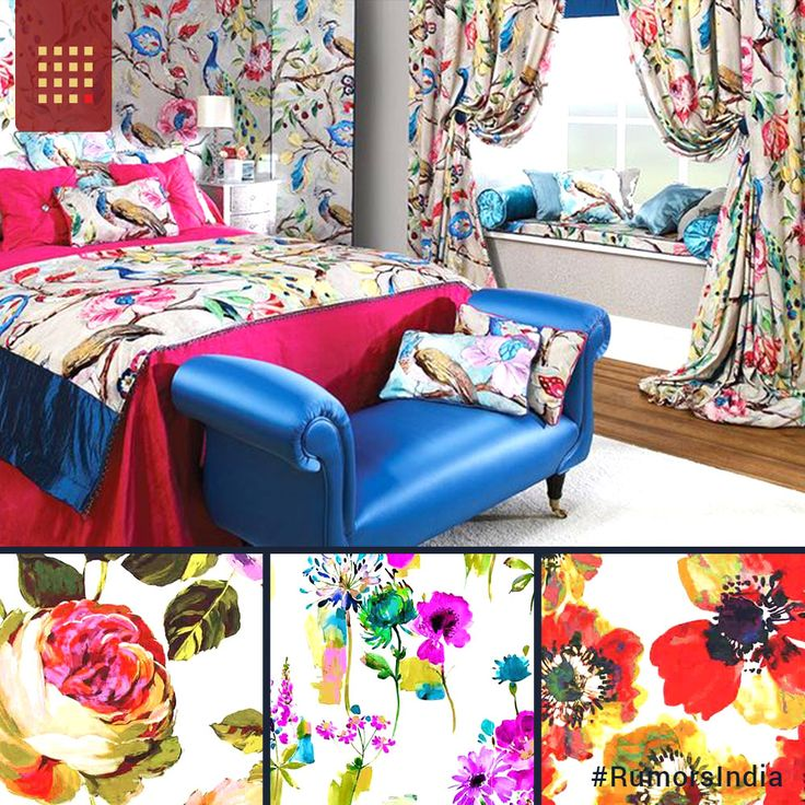 A bright and colourful collection of upholstery fabrics in Rumors Fine Furnishings, Life, is a series of digitally printed designs. The designs printed on various #furnishing #fabrics, present illustrations of flora & fauna with interesting transitional designs. #rumorsindia