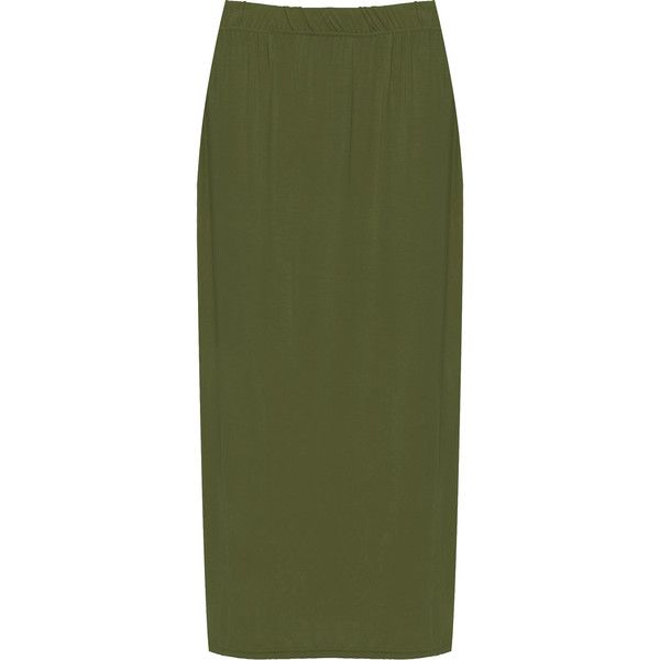 WearAll Plus Size Plain Maxi Skirt ($19) ❤ liked on Polyvore featuring skirts, khaki, plus size khaki skirt, elastic waist maxi skirt, khaki maxi skirt, plus size maxi skirt and long skirts