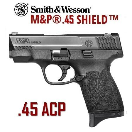 S&W MP45 Shield .45 ACP Semi-Automatic; 2 clips, 6+1 & 7+1; after market - dove tail on clip, Pachmayr grips, leather CCW holster.