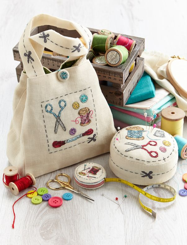 pincushion, sewing project bag embroidered