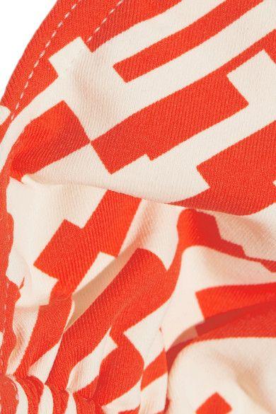 Eres - Mouna Printed Triangle Bikini Top - Bright orange - FR40