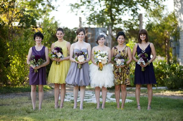 mismatched bridesmaids dresses from BHLDN // photo by LaurenLarsenBlog.com: Dress Bhldn, Bridesmaid Dresses, Mismatch Dress, Dress Second, Bridesmaids Dresses, Dress Choices, Blue Wedding