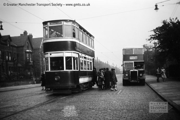 https://flic.kr/p/qAz3bc | Stockport Corporation tram 69 and North Western 233, Heaton Chapel | This photo must have been taken some time between North Western 233 on the right was delivered, in 1948; and the end of trams in Stockport (and indeed in Greater Manchester) in 1951. Stockport was the last operator of trams in the Greater Manchester region, and even after the trams disappeared the town's municipal transport department was known for being rather frugal and conservative - the very…