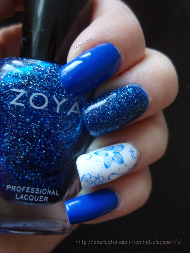 Color Club Bright Night, Gina Tricot White & Zoya Dream with stamping