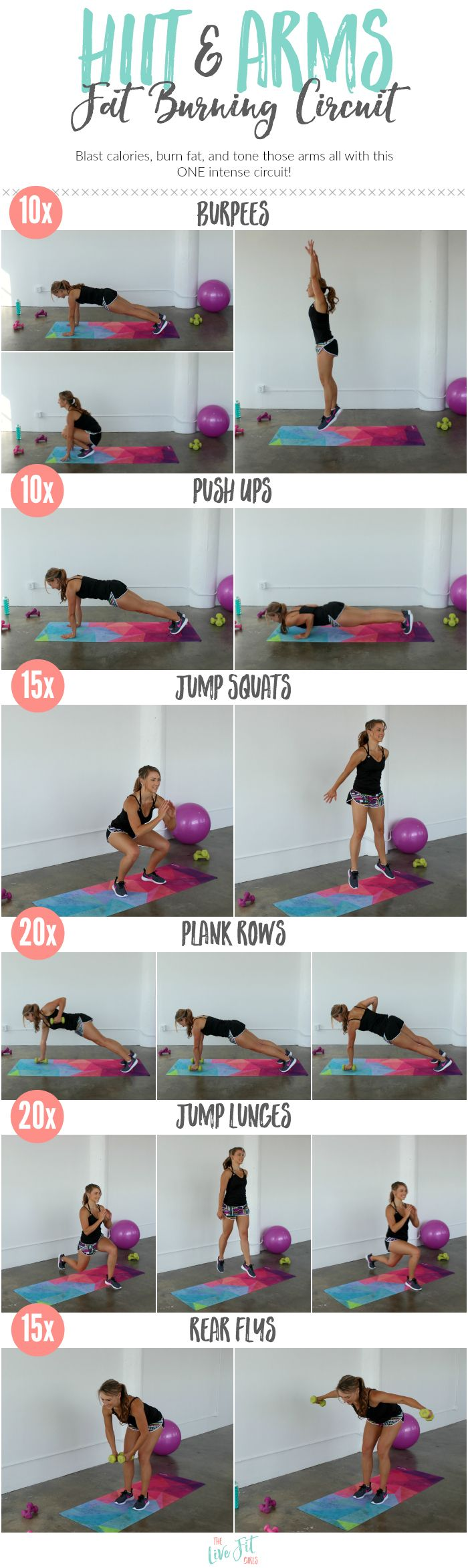 Fat burning HIIT moves combined with toning arm exercise will give you one amazing, fat blasting workout!