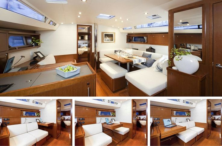 Beneteau's Oceanis 48 - The settee area is particularly flexible, and allows for Captain to set it up for chart plotting or sleepy guests. It can be moved and arranged so the desk is center (great for two people working), or so the cushioned seats are positioned either forward or aft (Tip: Also a great breakfast nook). The curtains are recessed in the port lights, which makes for difficult cleaning or customization, but allows the interior to maintain a tidy look (upon first appearance).