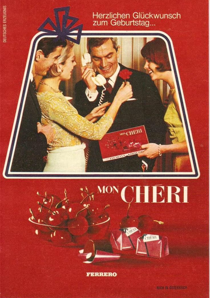 """Vermutlich lächelt der Herr auf diesem Werbemotiv von 1966 für """"Mon Cheri"""" von #Ferrero so glücklich, weil er endlich mal keine Krawatte zum Geburtstag bekam.  #MonCherie"""