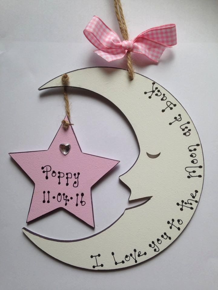 Love you to the Moon & Back Personalised Baby Birth Plaque Sign Gift Girl or Boy by aliplaques on Etsy