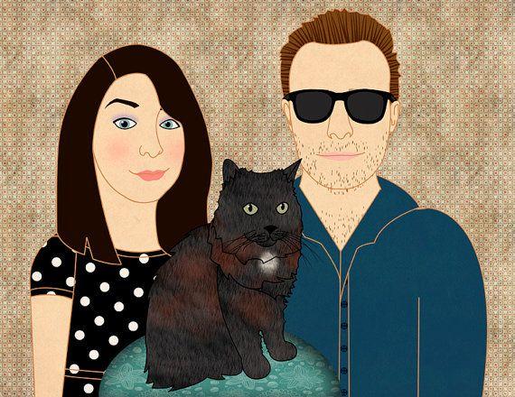 Custom portrait custom family portrait couple portrait by catbrush