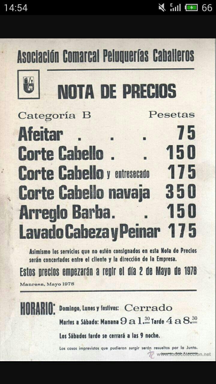 Lista de precios de la asociación de peluqueros
