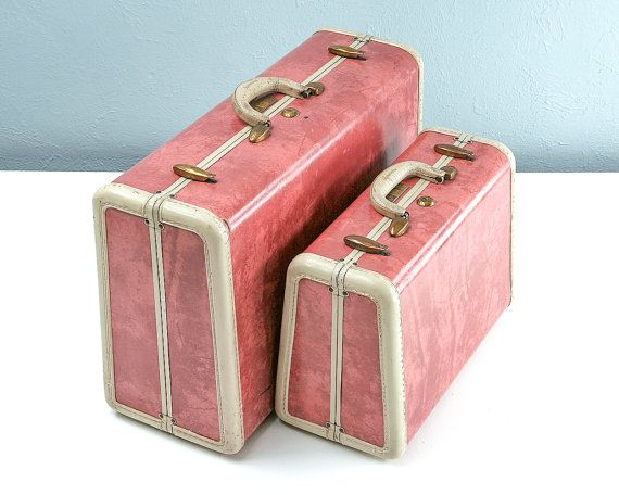 RARE 1950s PINK Marble Samsonite Suitcase Set Pink by Retroburgh