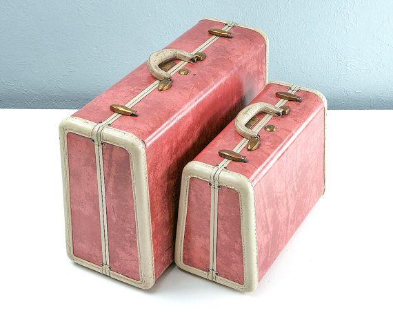 RARE 1950s PINK Marble Samsonite Suitcase Set Pink by Retroburgh