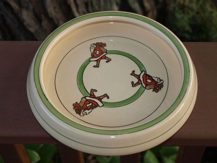 Antique Roseville Art Pottery Christmas Santa Claus Dish