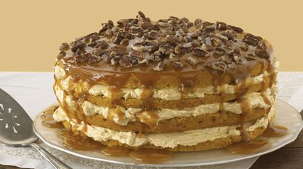 Luscious Four-Layer Pumpkin Cake  #kraftrecipes