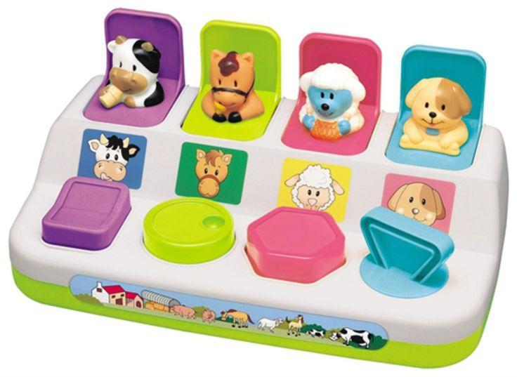 Kjempemorsom aktivitetsleke fra Happy Baby i form av knapper formet som ulike gårdsdyr som popper opp når man trykker eller vrir på de. Perfekt for trening av motorikk og gjenkjennelse av farge pg form. Aktiver barnet ditt med denne supersøte leken!<br><br>Anbefalt alder: fra 1 år.<br><br>Mål: 26 x 14 cm.