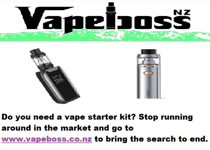Do you need a vape starter kit? Stop running around in the market and go to http://www.vapeboss.co.nz/ to bring the search to end.