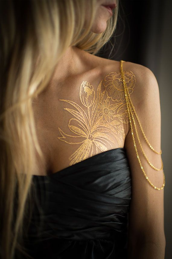 Oro Bouquet fiore metallico Temporary Tattoo di MadeByTattooYou
